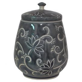 """Porcelain jar with a chinoiserie motif.   Product: Lidded jarConstruction Material: PorcelainColor: Grey and whiteDimensions: 14.25"""" H x 10.25"""" Diameter"""