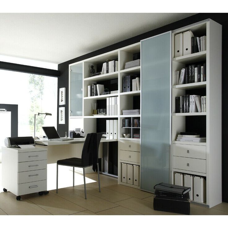 Wohnwand Bücherregalwand Schreibtisch weiß Anbauwand ...