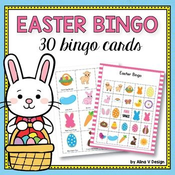 Take a look at this fun and colorfulEaster Bingo Game (30 different bingo cards and 24 calling cards). INCLUDES: - 30 different Easter bingo cards - 24 Easter calling cards (1 free space) **Click here to save $9 by buying the Holiday BINGO BUNDLE (8 holidays included)!!!** THE HOLIDAY BINGO BUNDLE SETS INCLUDES: •Thanksgiving Bingo Game •Christmas Bingo Game •Valentines Day Bingo Game •St Patrick's Day Bingo •Halloween Bingo Game •Easter...