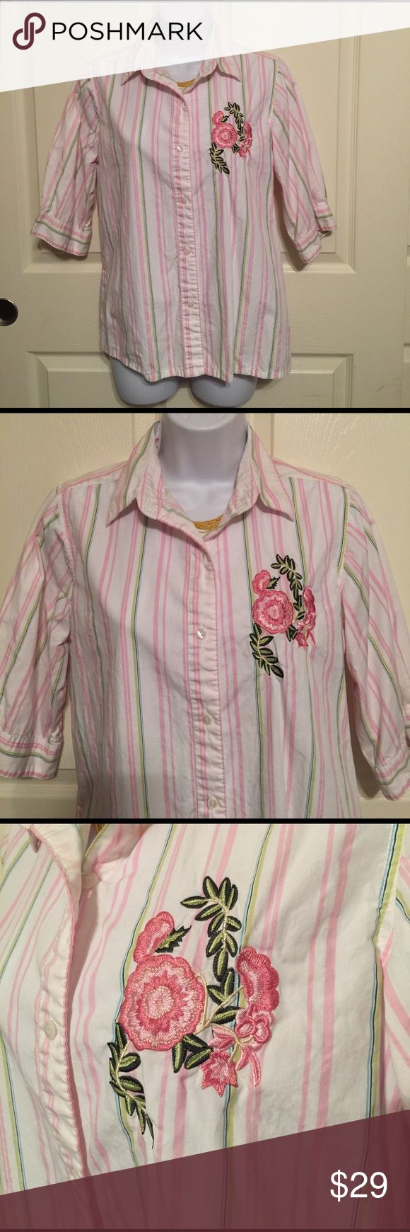 Pretty pink stripe polo button-down shirt flower S Pre-loved pretty pink stripe button-down polo shirt size S hundred percent cotton with a cute embroidered flower design. Woman's ladies.  Check out my closet, we have a variety of Victoria Secret, Bath and Body Works, handbags 👜 purse 👛 Aerosoles, shoes 👠fashion jewelry, women's clothing, Beauty products, home 🏡 decors & more...  Ships via USPS. Don't forget to bundle, you save big! Always a FREE GIFT 🎁 with every purchase!!! Thank you…