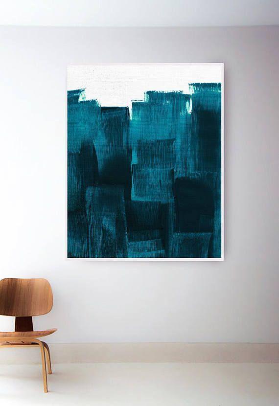 Druckbare blaugrün blaue Malerei. Blaue Kunst. Petrol / Print. Moderne Kunst. Aquamarine Kuns…