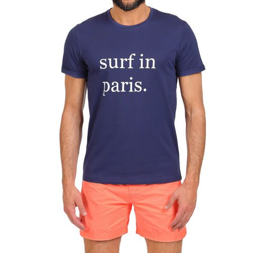 SURF IN PARIS T-SHIRT COLOR BLUE Blue cotton scoop neck T-shirt with contrast Surf in Paris front print. Short sleeves. COMPOSITION: 100% COTTON. Model wears size L, he is 189 cm tall and weighs 86 Kg.