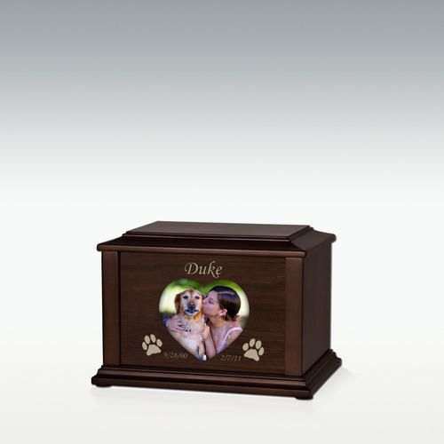 Extra Small Heart or Oval Adoration Walnut Pet Cremation Urn