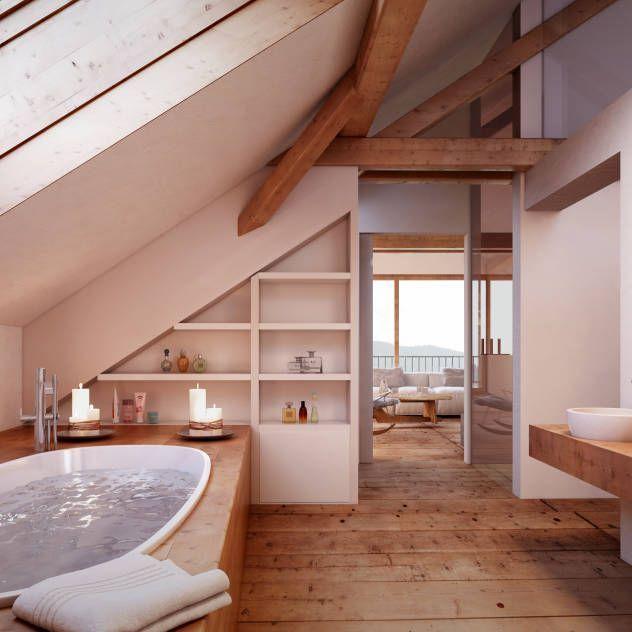 Mansardenbad: Rustikales Badezimmer von von Mann Architektur GmbH