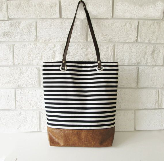 Striped Tote bag Shoppers bag Black and white Casual by byMART $56