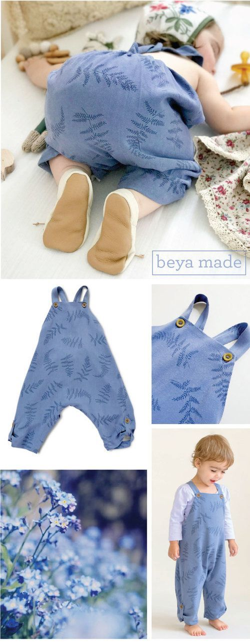 Cute baby girl romper | blue fern print toddler girl outfit