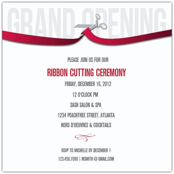 Ribbon Cutting Corporate Invitations  Corporate Invitation Template