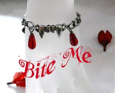 Vampire Fangs Blood Drops Bracelet - Antique Silver Plated -- via Miss Bohemia