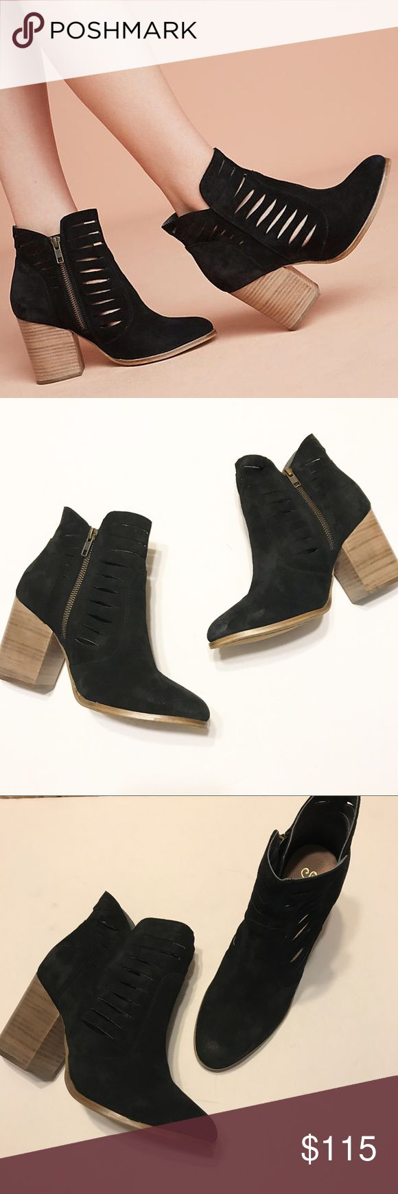 """NIB! Seychelles by Anthropologie """"Let's Go Crazy"""" NEW in box! • Seychelles, as sold by Anthropologie booties • """"Let's Go Crazy"""" black booties • Leather • Stacked wood heel • Cool slits • Ask all questions before purchasing! • Size 8. Seychelles Shoes Ankle Boots & Booties"""