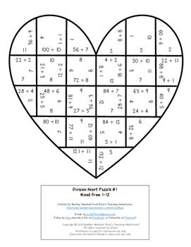 Valentine's Day Math Centers: Division Heart Puzzles (or Grandparents Day gift)