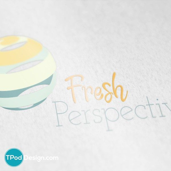 Clean, smooth, and energetic, this logo features a bold script font paired with a light and feminine serif. Colors inspired by nature are swirled into a sphere. This logo would be ideal for a nutritionist or fitness coach.
