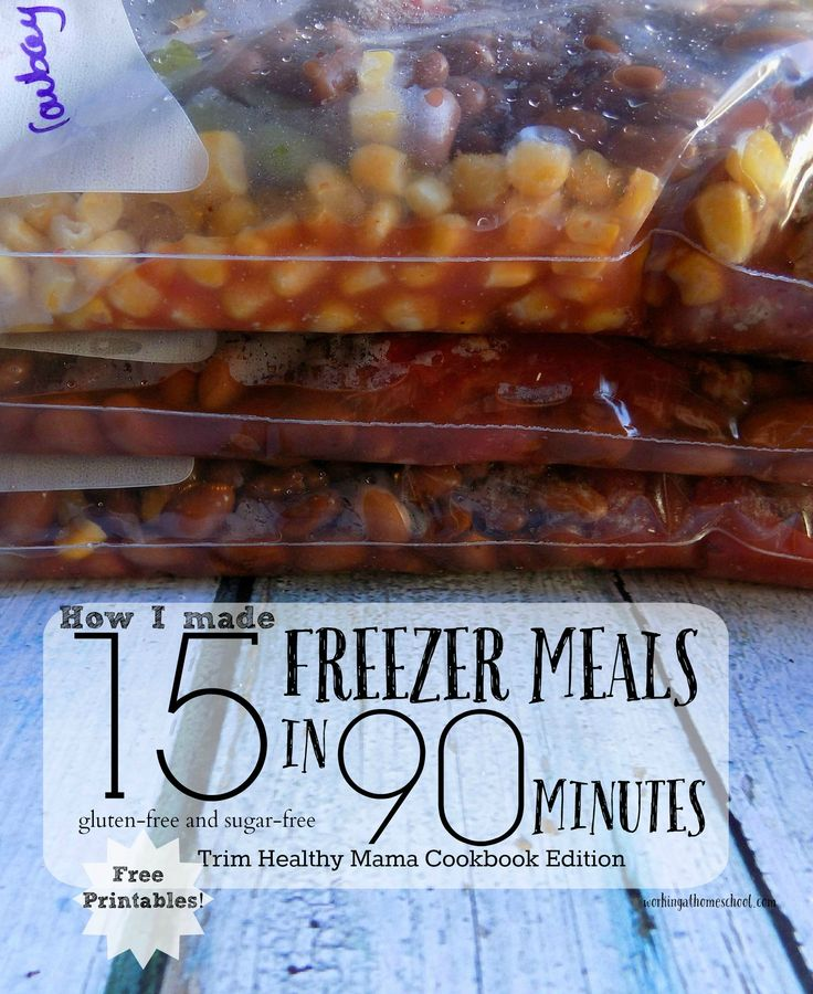 5 THM Recipes, 15 freezer meals, 90 minutes. She gives the page numbers for the recipes in the THM Cookbook and her own directions on how to prepare it as a freezer meal.