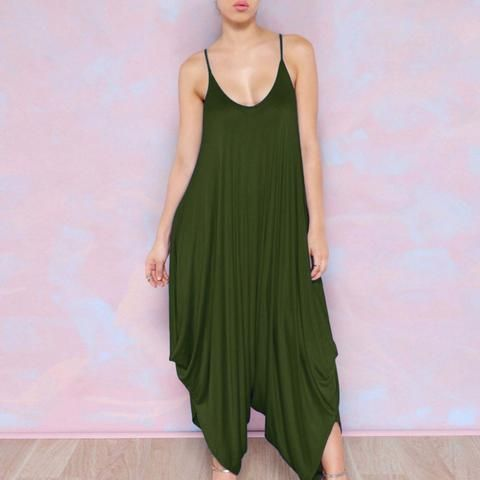 5f3e0137ca4 2018 Sexy Party V Neck spaghetti strap wide leg Romper Women Jumpsuit Loose  green flare Haren trouser Playsuit plus size overall