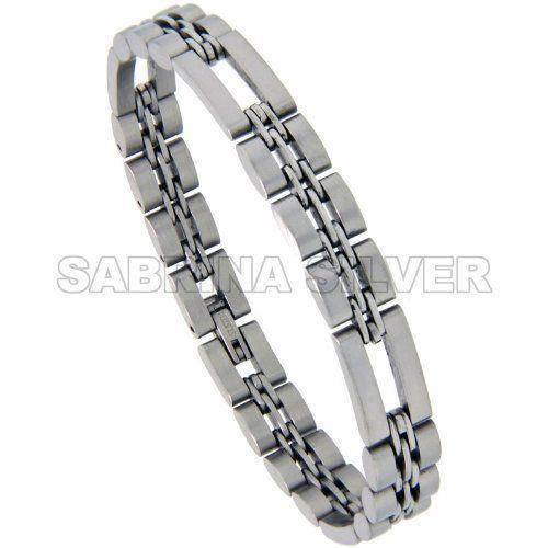 Stainless Steel 3+1 Basket Link Bracelet Satin Finish 3/8 inch wide, 8.5 inch long Sabrina Silver. $17.82