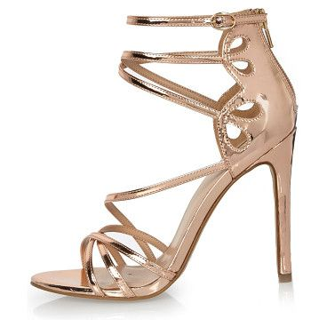 rose gold tone strappy heels by River Island. Rose gold tone upper Caged design Back zip fasetning Skinny heel Heel height 11cm