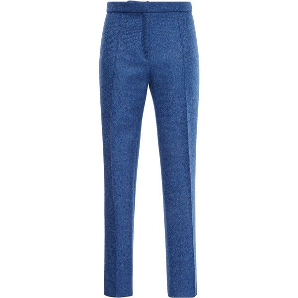 Maison Rabih Kayrouz Denim Blue High Waisted Wool Natte Pants ($1,345) ❤ liked on Polyvore featuring pants, maison rabih kayrouz, high rise pants, slim fit wool pants, high-waisted trousers, high waisted skinny pants and wool trousers