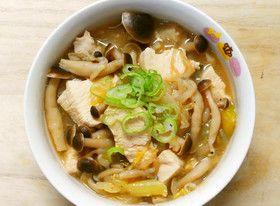 鶏むね肉ともやし しめじの味噌コンソメ煮