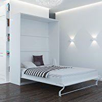Schrankbett 160x200 weiss mit Gasdruckfedern, ideal als Gästebett - Wandbett, Schrank mit integriertem Klappbett, SMARTBett