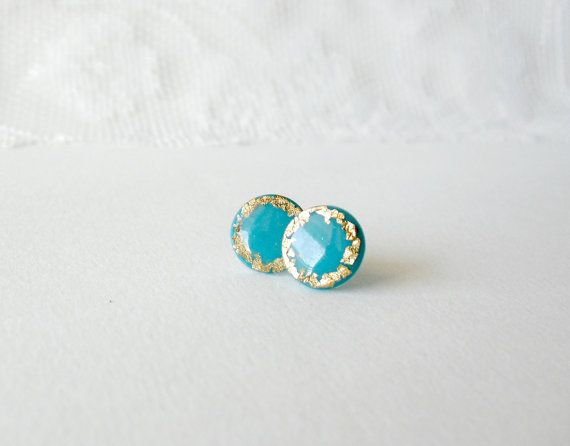 Turquoise Blue and gold grecian earrings by DivineDecadance