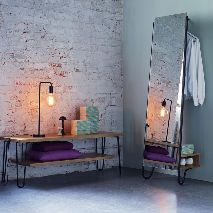 Soho at Heal's Brunel Lean Mirror by Rob Scarlett | Floor Standing Mirrors | Mirrors | Home Decor | Heal's