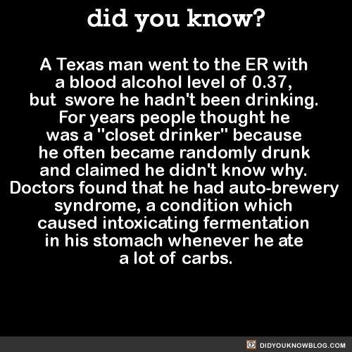 So I looked it up and this is apparently an actual syndrome, also referred to as gut fermentation syndrome.