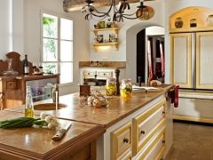 Сочетание цветов в интерьере кухни (40 фото): оригинальные решения 2014 года http://happymodern.ru/cvet-v-interere-kuxni-originalnye-i-neozhidannye-resheniya-40-foto/ kuxnya-v-stile-provans_19
