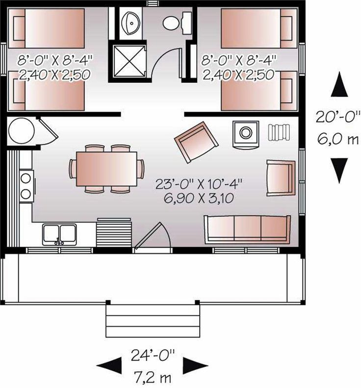 5 Micro Guest House Design Ideas: 20x24' Floor Plan W/ 2 Bedrooms.