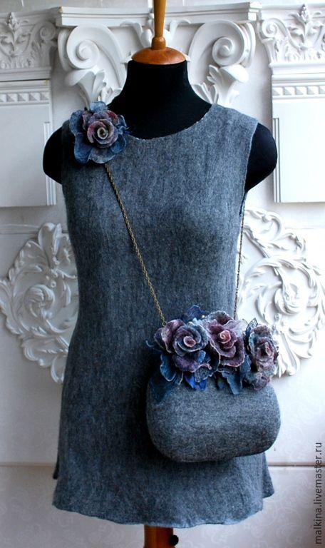 Купить Валяное платье и сумочка В Петербург - темно-серый, серое платье, валяное платье