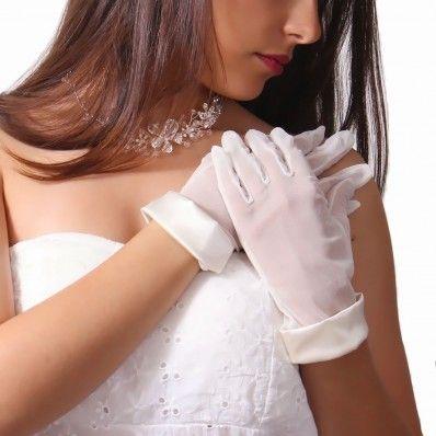 Bridal short tulle gloves - Guanti per sposa corti in tulle