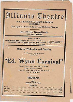 ED WYNN CARNIVAL FRANK JOHNSON ILLINOIS THEATRE ANTIQUE SHOW PLAYBILL FLYER