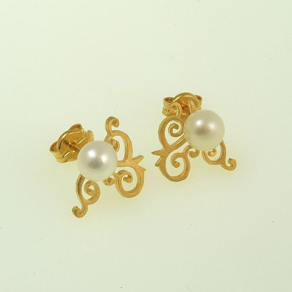 Earrings Moonlight Iosif with gold plated Silver 925 & white pearls. Earrings Code:3301.ER.1538.OS.001