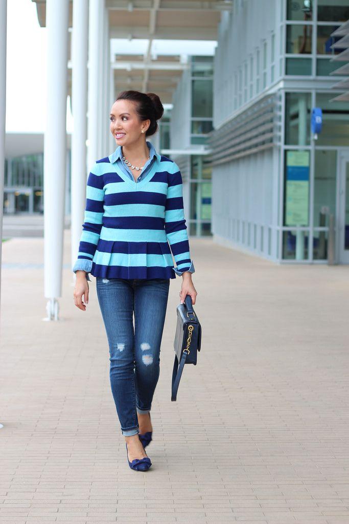 StylishPetite.com   Banana Republic striped peplum pullover sweater