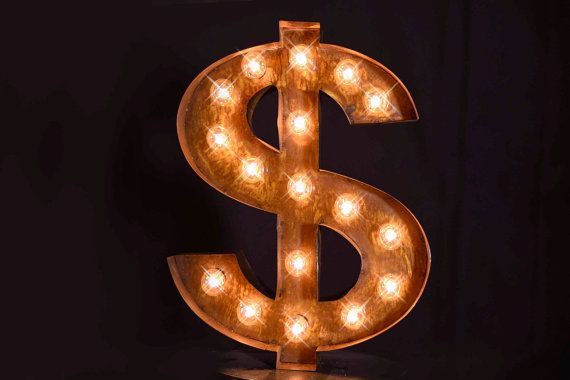 Marquee letter, marquee sign, Dollar Lighted Metal MARQUEE SIGN, Marquee Light, Marquee Letter Fixture: Vintage Style Dollar Sign