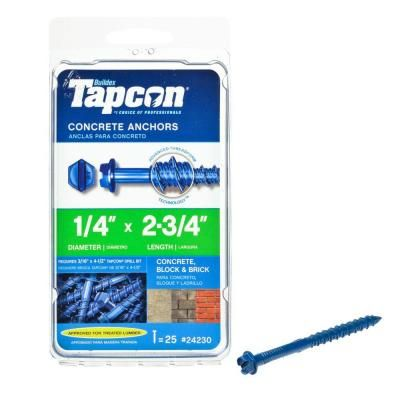 Tapcon 1/4 in. x 2-3/4 in. Climaseal Steel Hex-Washer-Head Concrete Anchors (25-Pack)-24230 - The Home Depot