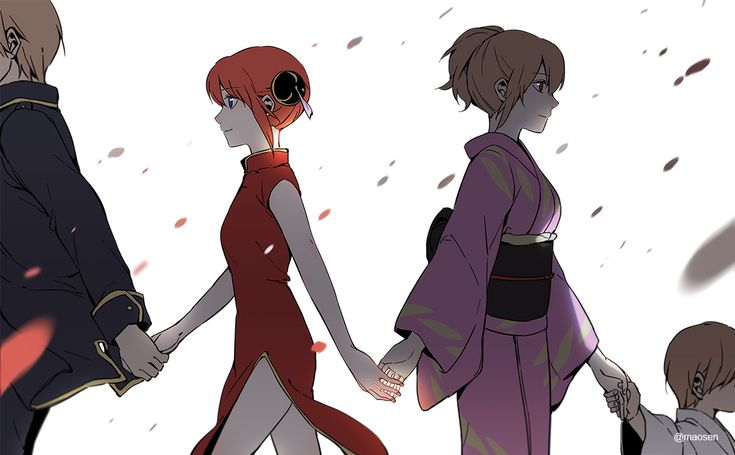 Okita Sougo, Kagura, and Mitsuba #holding hands #walking