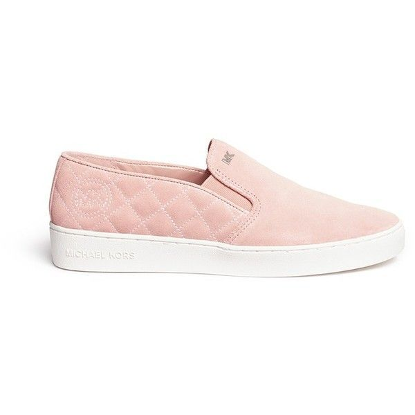 Michael Kors 'Keaton' quilted suede skate slip-ons (£115) ❤ liked on Polyvore featuring shoes, sneakers, pink, pink sneakers, suede leather shoes, slipon shoes, pull on shoes and suede shoes