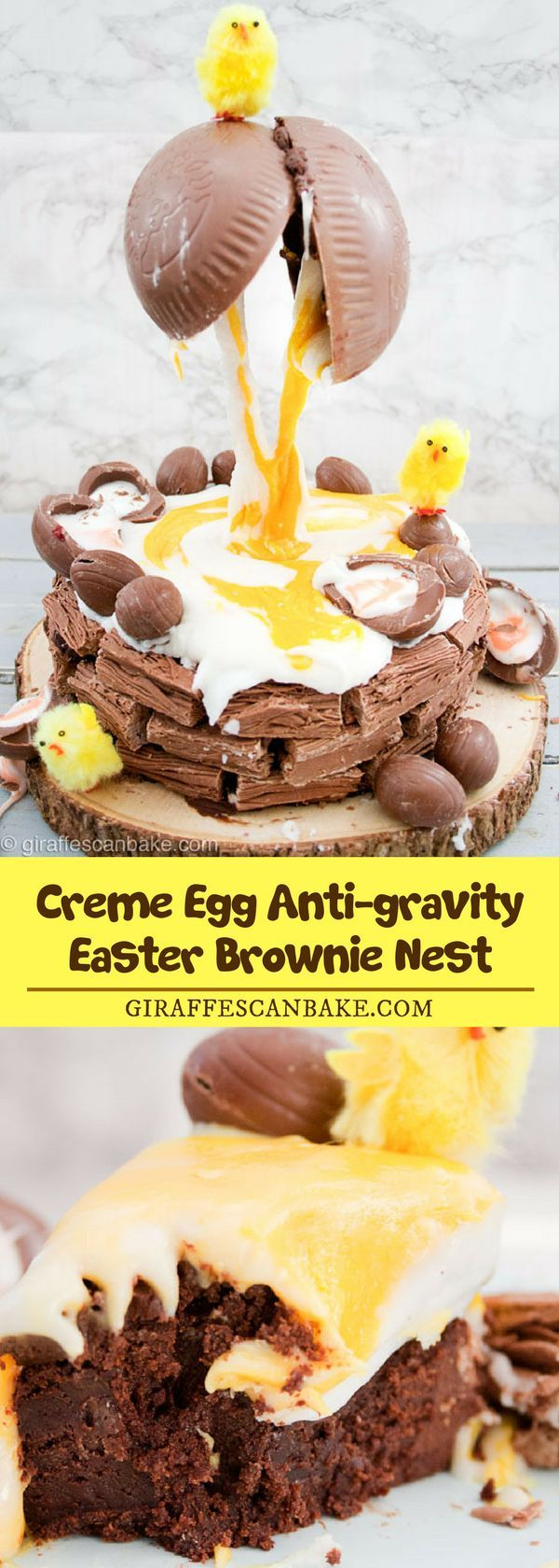 Creme Egg Anti-gravity Easter Brownie Nest is a fudgy brownie cake smothered in rich chocolate ganache, in a Cadbury Flake nest. With a cracked Chocolate Egg covering the whole thing in creme egg filling! Ridiculously decadent, amazingly tasty and surprisingly simple! #dessert #eastertreat #brownies