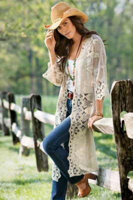 Like this look with cowboy boots instead. Not sure how these long tops look on me yet.--Crochet Topper from Soft Surroundings
