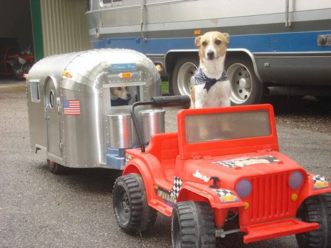 Airstream Dog House - Rowan would totally be driving, with Loki in the camper. He'd get them lost!
