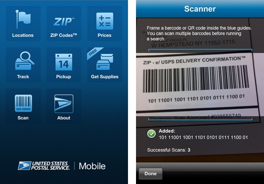 The USPS iPhone app allows users to easily track shipments of their packages by scanning the delivery confirmation bar code. #usps #shipping