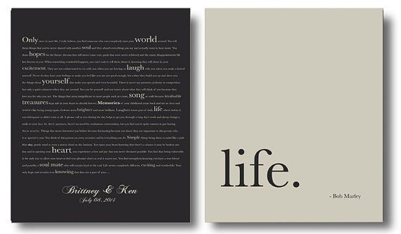 Wedding gifts Bob Marley Love quote Personalized by IndigoRain