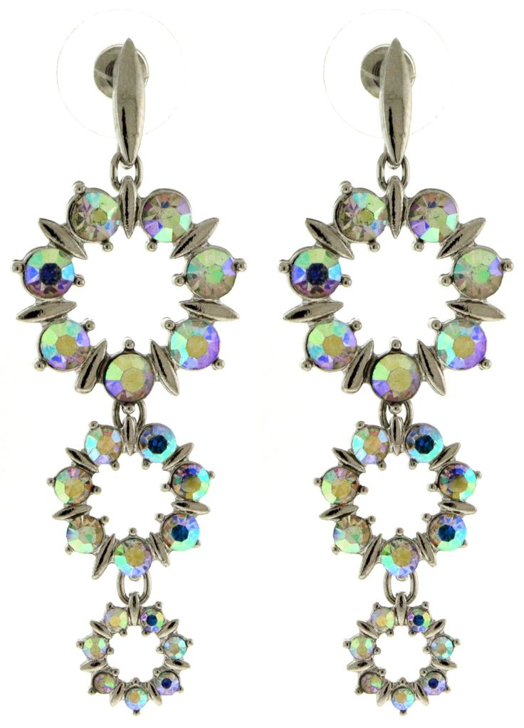 Sophisticated Rhinestone Accented Silver-Tone Drop Dangle Earrings With Iridescent Colored Rhinestone Accents TME643