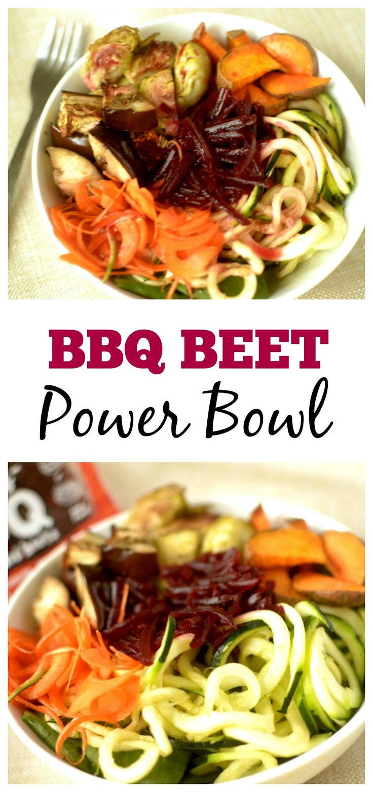 Enjoy this tasty BBQ Beet Power Bowl for a heathy,delicious and filling lunch or dinner. It's loaded with spiralized and roasted veggies, shredded BBQ beets and topped off with a 3 ingredient beet vinaigrette. This power bowl is vegan, paleo and whole 30 complaint.