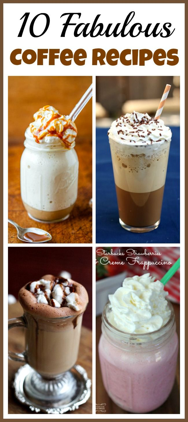 If you love drinking fancy coffees, you can save a lot of money by making your own instead of going to a coffee shop! Check out these 10 fabulous coffee recipes!