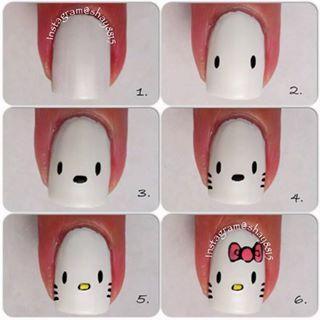 Decoración de uñas #HelloKitty ^^
