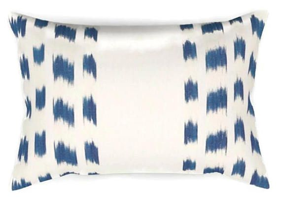 ADD A PRETTY LOOK TO ANY ROOM WITH THIS PILLOW COVER! On the Front: Navy Blue and Ivory Printed Fabric On the Back: Ivory Linen Fabric All pillow covers are sewn professionally, over-locked with finished edges to prevent fraying and has invisible zipper enclosures. This provides long lasting, durable covers that will stay straight and beautiful over time, which makes for a clean professional look. Pillow Inserts available here: https://www.etsy.com/shop/dekowe?section_i...