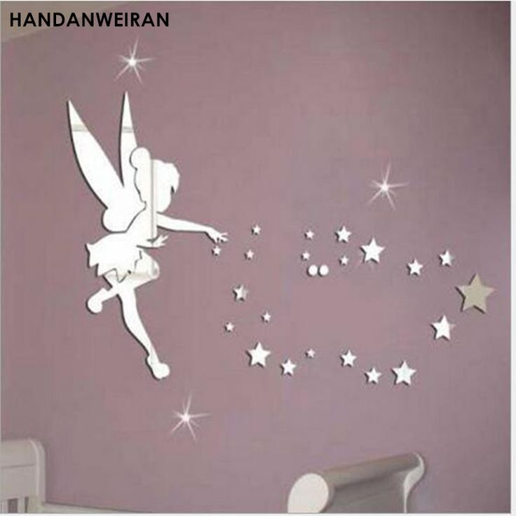 1SETS 3D Fairy blowing star acrylic mirror wall stickers  green wall stickers home decoration with a glue for kids #Affiliate