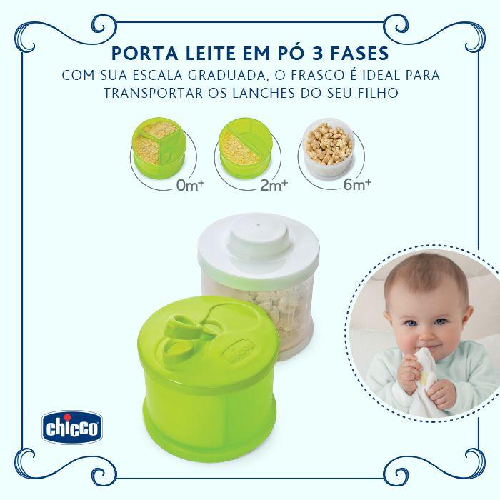O Doseador de leite em pó 3 fases é composto por dois recipientes, cada um estudado para satisfazer as exigências da mãe e do bebê durante as fases de crescimento. O recipiente para os primeiros meses permite ter sempre prontas doses de leite em pó para preparar o leite do bebê. A prática tampa com bico também permite evitar as perdas durante a preparação do leite. Com a escala graduada, o recipiente de crescimento é ideal para transportar o lanche da criança: leite, fruta, papinha e  (...)