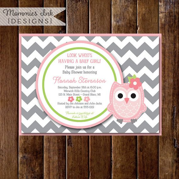 This listing is for a personalized printable digital file (jpg or PDF) of this invitation: Gray Chevron Owl Baby Shower Invitation - Pink Owl.  No
