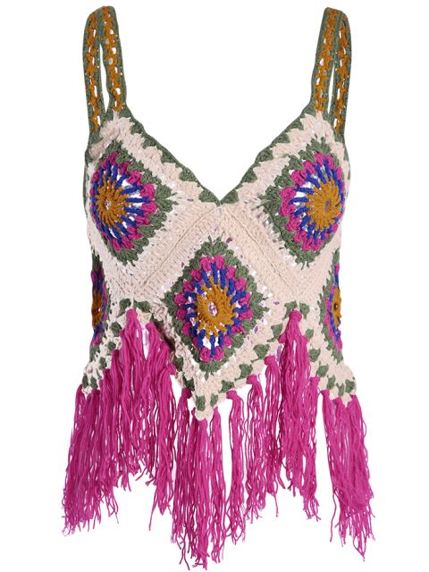Crochet Tassels Cami Tank Top - RED ONE SIZE